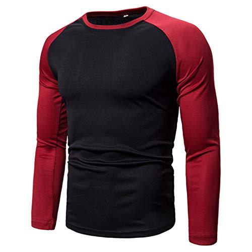 Men T-Shirts Men Sweatshirts Comfortable Casual Patchwork Elastic Fiber Round Neck Long Sleeve Men Tops Autumn New Soft Sports Style Breathable Slim Men T-Shirts G-Black. 3XL