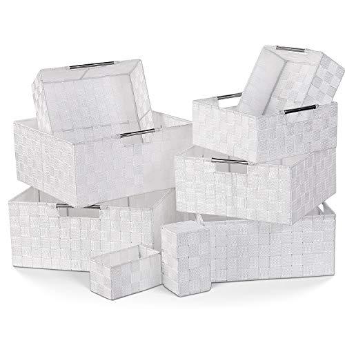 Homfa 9 Cestas Almacenaje Organizador de Cajones Cajas Plásticas con Efecto de Mimbre y Asas para Dormitorio Cocina Oficina Baño Blanco