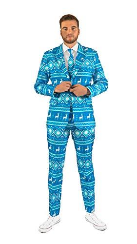 OFFSTREAM Weihnachtsanzüge für Herren in Verschiedenen Drucken - Besteht aus Sakko, Hose und Krawatte, M Weihnachten Nordic Blue