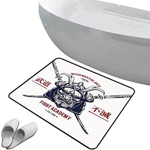 Rutschfeste Badezimmermatte japanisch Weicher, rutschfester Badteppich Beunruhigte rustikale gekennzeichnete grafische Arbeit der obersten schweren Samurai-Masken-Gesichtsschutzrüstung Mempo,graues Ro
