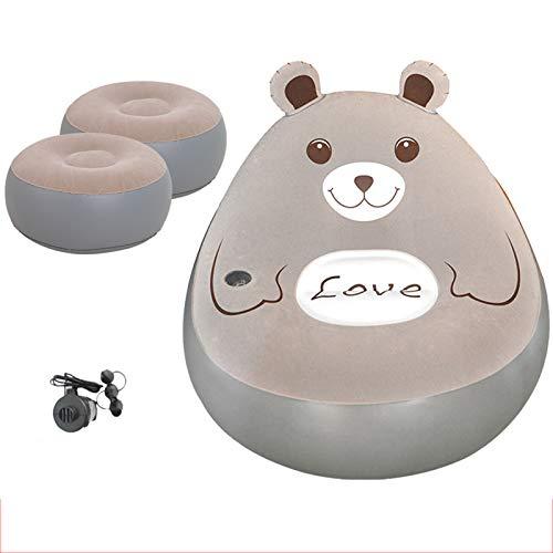 VIVITG Totoro Inflatable Sofa Foldable Cartoon Tatami Beanbag Sofa Water Proof & Anti-Air Leaking Home Recliner Lunch Break Chair, with Air Pump, (2 Footrest),B