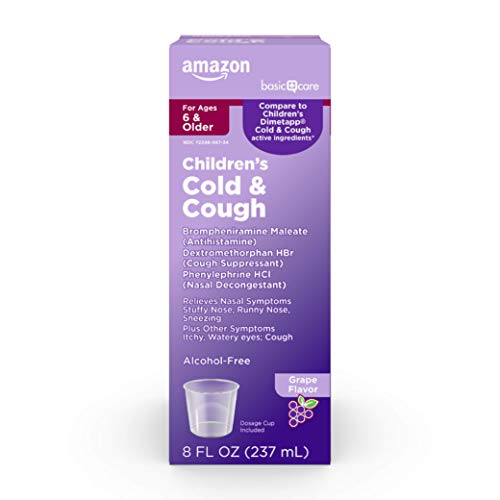 Amazon Basic Care Children's Cold and Cough, Red Grape Flavor; Cold Medicine for Kids, 8 Ounces