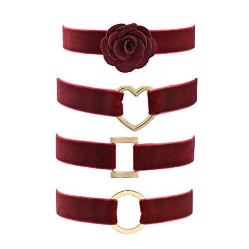 Collana a girocollo, in velluto color rosso vino, stile gotico, 30,4–38,1cm., Lega, colore: Red, cod. JN30591RD04