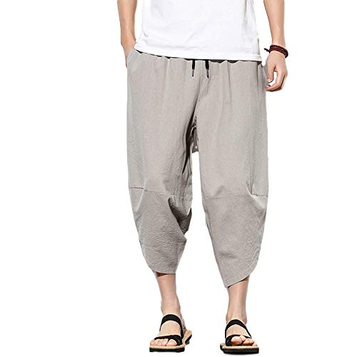 Pantalones de Hombre Sueltos Color sólido Resistencia Casual de Gran tamaño Corbata de Cintura elástica Primavera y otoño Pantalones harén Pantalones de Pierna Ancha Algodón y Lino 5X-Large