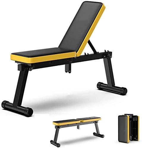 WBZ ZJX Hantelbänke, Haushalts Faltbar Hantel Stuhl, Sit-up Fitness Stuhl, Multifunktions Fitness Stuhl, Hantel Rudern (Color : Yellow)