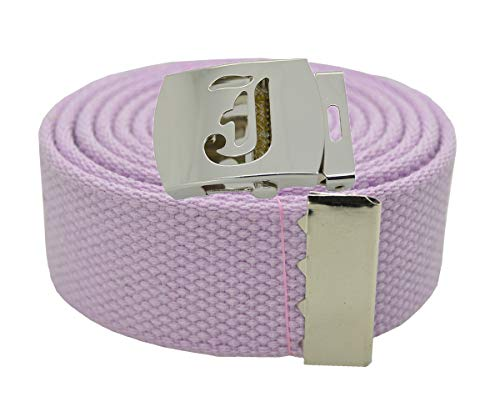 Old English Initial'J' Canvas Military Web'Lavender' Belt & Silver Buckle 60 Inch