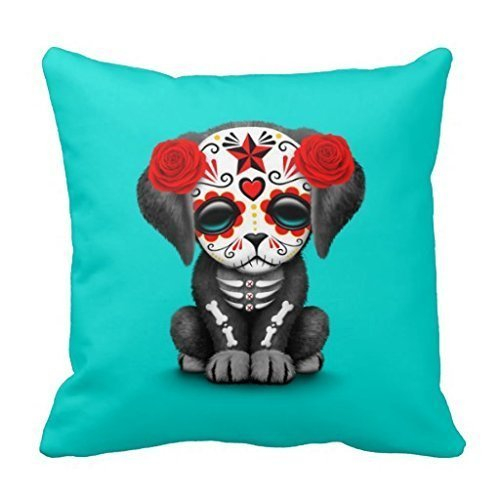 Nvfshreu Cute Red Day Of The Dead Chiot Chien Bleu 18X18 Simple Style Pouces Simplicité Mode Confortable Chic Usage Quotidien (Color : Colour, Size : Size)