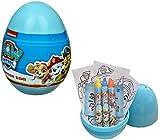 TrendyMaker Juego de manualidades de Paw Patrol, sorpresa, huevo creativo con 3 ceras, 3 hojas para colorear, 1 hoja de pegatinas.