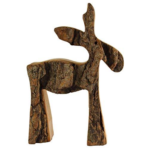 HANTERMANN Deko Figur Elch | Elch aus Holz | Holz Deko Weihnachten | Höhe 14 cm | rustikale Weihnachtsdekoration aus Holz | Made in Germany