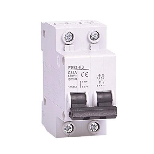 LUOXUEFEI Disyuntor Diferencial Interruptor 2P 6A 10A 16A 20A 25A 32A 40A 50A 63A Dc 550V Disyuntor