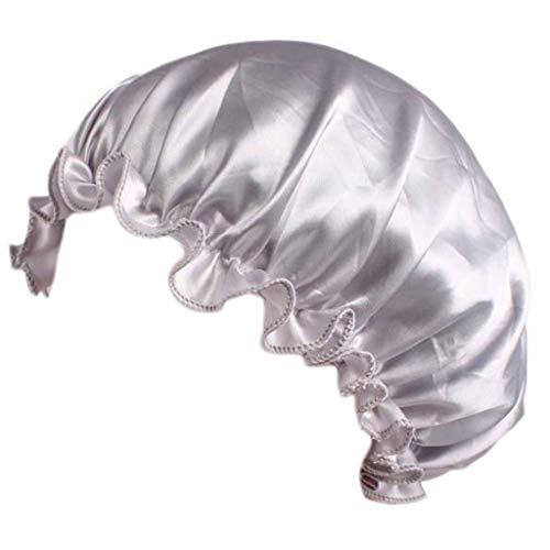 Lunji Bonnet de Nuit Femme Confortable, Bonnet Chimio Cheveux Nuit pour Femme (Argent)