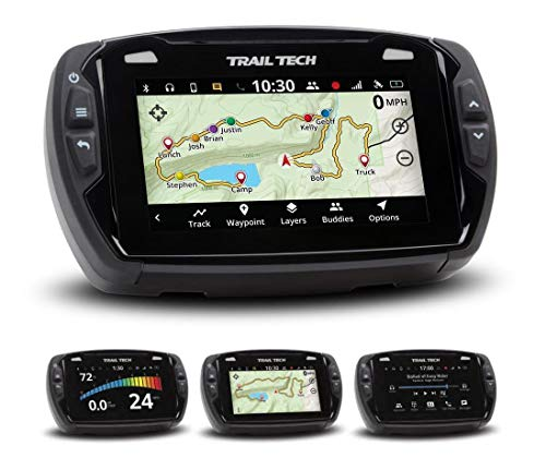Trail Tech 922-122 Voyager Pro GPS Kit with Digital Gauge Trail Maps 4-Inch TFT LCD Touch Screen, Buddy Tracking, Handsfree Bluetooth
