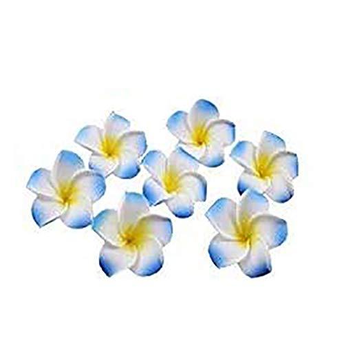 HugeStore 100er 4CM Plumeria Hawaiian Frangipani Schaumblüte für Hochzeit Party Dekoration Blau