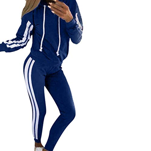 Damen Kapuzenpullover & Jogginghose 2Pcs Streifen Trainingsanzug Casual Langarm Hoodie Legging High Waist Eng Fitness Tights Freizeitanzug Herbst Winter Kanpola