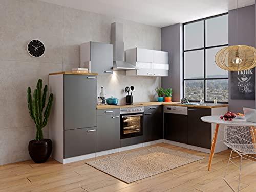 respekta Cuisine d'angle en forme de L - Cuisine encastrable - Blanc et gris - 280 x 172 cm