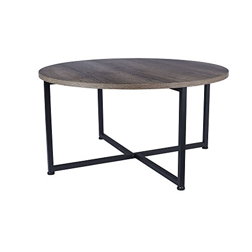Household Essentials Grey Top Black Frame Ashwood Round Coffee Table, 31.5 x 31.5