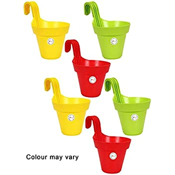 Kraft Seeds Railing, Hanging Planter (Multicolour, Set of 6)