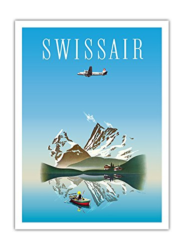 Schweiz - Swissair - Douglas DC-4 Verkehrsflugzeug - Vintage Retro Fluggesellschaft Reise Plakat Poster von Herbert Leupin c.1956 - Premium 290gsm Giclée Kunstdruck - 30.5cm x 41cm
