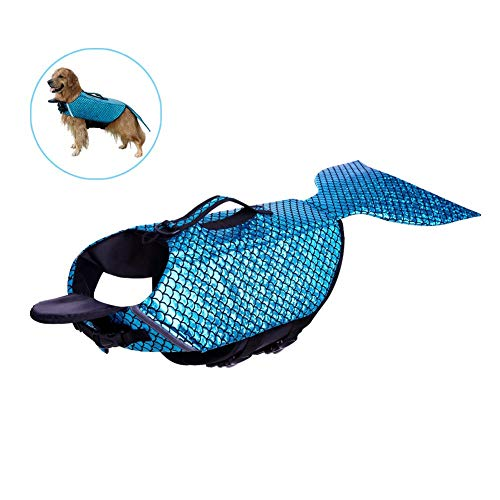 Shhjjpy Dog Life Jacket Mermaid, Ripstop Pet Floatation Life Vest, Adjustable Dog Lifesaver Lifejackets Safety Preserver Swimsuit for Small Medium Large Dogs at Pool, Beach Or Boating,Blau,L