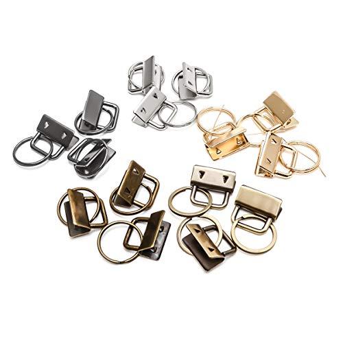 ysister 30 Stück Klemmschließeanhänger mit Schlüsselring für ca. 25 mm breites Gurtband, Schlüsselband Rohlinge Kupfer Klemmschließeanhänger (Silber, Schwarz, Grünbronze)