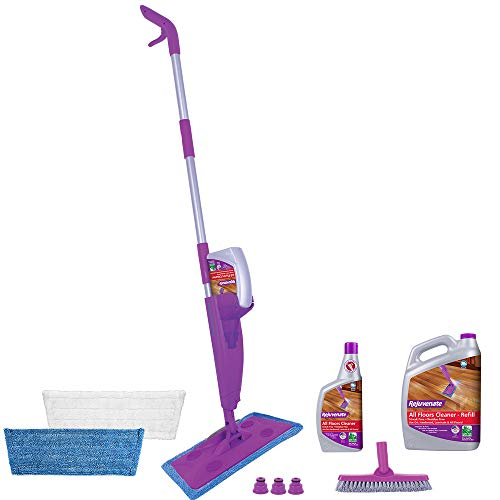 Rejuvenate Click N Clean Multi-Surface Spray Mop System Complete Bundle Includes Click-On Grout Brush 2 x Reusable Microfiber Pads 1 x 32oz No-Bucket Floor Cleaner & 1 Gallon Floor Cleaner