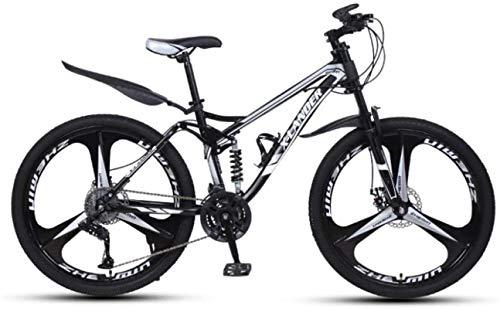 HCMNME Mountainbikes, 24-Zoll-Downhill Weiche Schwanz-Mountainbike-Variable Geschwindigkeit Männer und Frauen-Dreirad-Mountainbike Aluminiumrahmen mit Scheibenbremsen