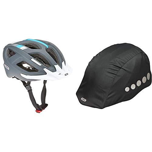 Abus Aduro 2.0 Fahrradhelm, Race Grey, 52-58 cm & Unisex Regenkappe für Helm, schwarz, Universal