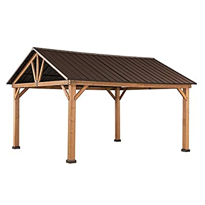Sunjoy A102008000 Gale 11 x 13 ft. Cedar Framed Gazebo with Steel Gable Hardtop Roof, Brown