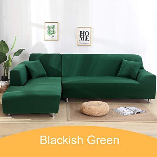 Hoes bankstel Stretch,Effen hoes voor hoekbank, 1 2 3 4-zits dierenhoes-11-Blackish_green_2-seater_145-185cm
