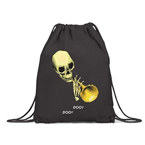 BLAK TEE Halloween Meme Doot Doot Organic Cotton Drawstring Gym Bag Black