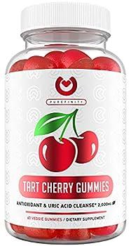 Purefinity Tart Cherry Gummies – RawTart Cherry Extract Gummy Alternative to Tart Cherry Capsules Juice Pills - Advanced Uric Acid Cleanse Powerful Antioixidant w/ Joint Support - 60 Vegan Gummies