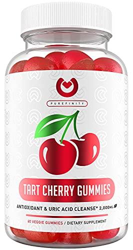 Purefinity Tart Cherry Gummies – RawTart Cherry Extract Gummy Alternative to Tart Cherry Capsules, Juice, Pills - Advanced Uric Acid Cleanse, Powerful Antioixidant w/ Joint Support - 60 Vegan Gummies