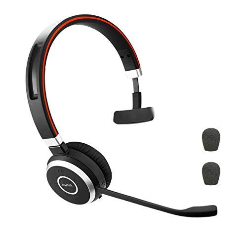 Jabra Evolve 65 Bluetooth Mono MS Headset Bundle | Microsoft Skype Lync Certified, Windows PC, MAC, Smartphone, Streaming Music, IP Softphones, NFC | Bonus Premium Microphone Cushions, 6593-823-309-C
