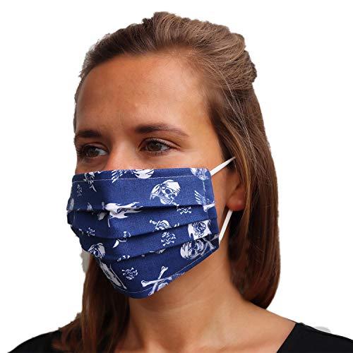 LIEVD Behelfsmaske Muster Totenkopf Blau wiederverwendbar M I waschbare Gesichtsmaske aus 100% Baumwolle Öko-Tex 100 | Made in Germany I 2-lagige Stoff Mund Nasen Maske, Alltagsmaske, Mundschutz