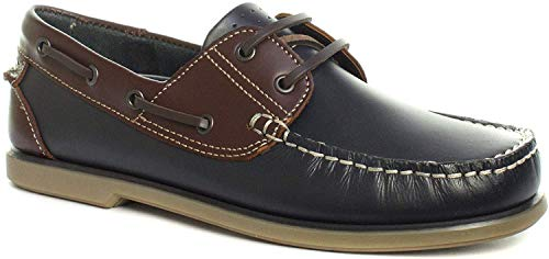 Dek Para hombre nuevo cuero marrón y marrón Nubuck encaje hasta el zapato de cubierta, color Azul, talla 42 1/3 EU