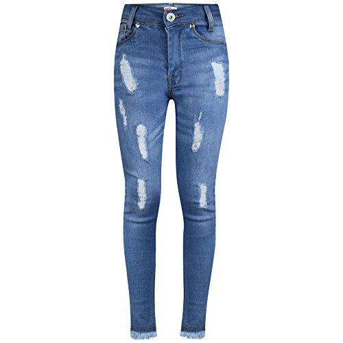 A2Z 4 Kids® Mädchen Dehnbar Jeans Kinder - Girls Jeans Ripped_GJ01 Light Blue 7-8