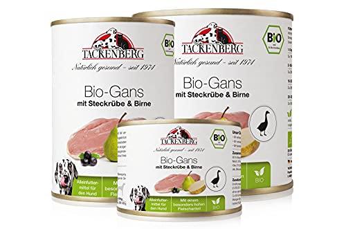 Tackenberg Hundefutter, Nassfutter Hunde, 100% Bio Gans mit Steckrübe & Birne, Premium Dosenfutter