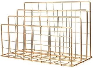 Yiherone Magazine Holder Grid Shaped Iron Desktop Storage Rack Bookshelf File Organizer Holder(Black) New (Color : Gold)
