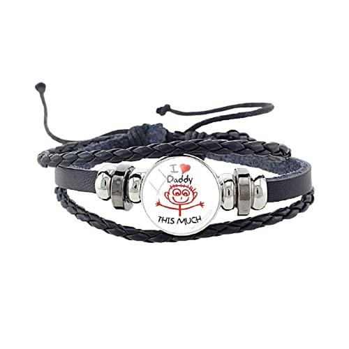 Pulsera de piel negra con botón de presión, diseño con texto 'I Love Daddy', hecha a mano, para regalar en el día del padre