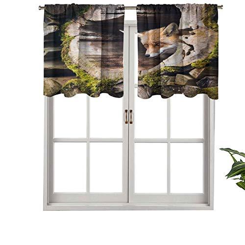 Hiiiman Cortina de ventana con filtro de luz para barra, cenefa de barra, diseño de zorro salvaje con ojos de avellana, juego de 1, 127 x 45 cm para ventanas, dormitorio, cocina o baño