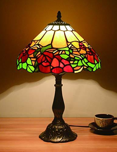 12 pulgadas Vintage Pastoral Flores preciosas Vidrieras Lámpara de mesa Lámpara de dormitorio Lámpara de noche