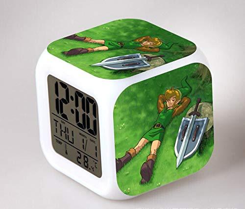 HHKX100822 Zelda Legende Rund Um Zelda Kreative Kleine Wecker Led Bunte Farbe Animation Wecker B