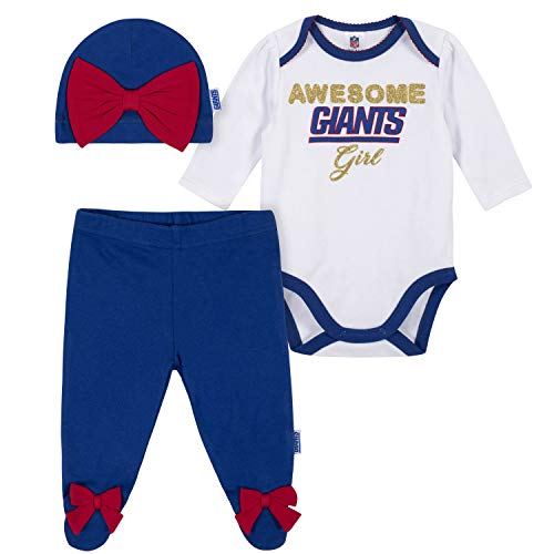 NFL New York Giants 3 Pack Bodysuit Footed Pant and Cap Registry Gift Set, white/blue New York Giants, 3-6M (260043160)>