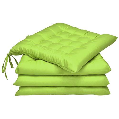 Beautissu Coussin Chaise Jardin Lea - Lot de 4 – Coussin Exterieur Confortable et épais - Idéal pour intérieur et extérieur - 40x40x5 cm - Vert Pomme