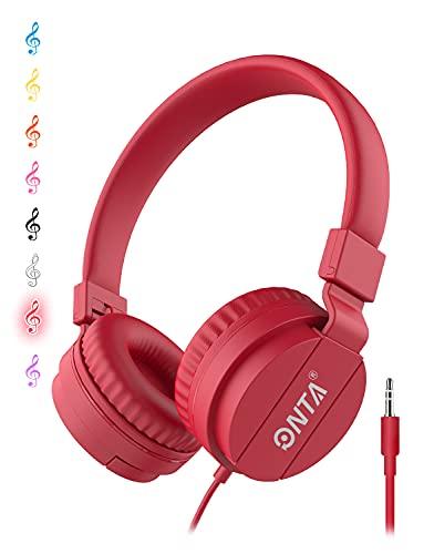 Onta pieghevole on Ear cuffie audio regolabile leggero per bambini cellulari smartphone iPhone computer portatile MP3 4 auricolari (Rosso)