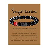 Sagittarius Gift Zodiac Bracelet for Men Natural Black Onyx Stone Zodiac Bracelet Jewelry