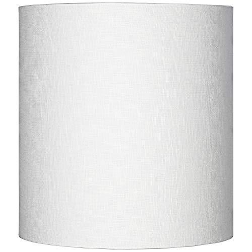White Tall Linen Medium Drum Lamp Shade 14