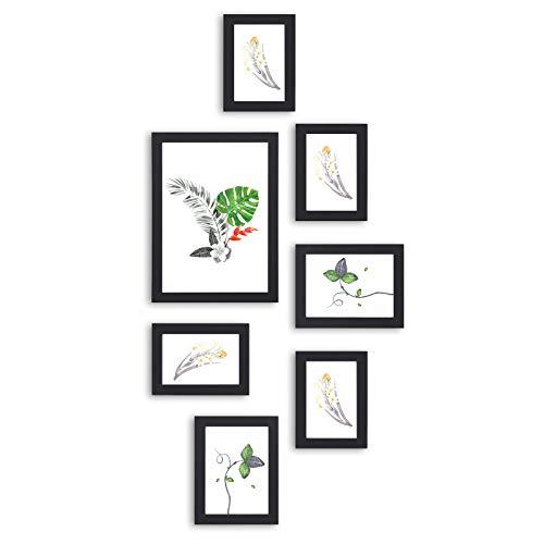 SONGMICS Bilderrahmen Set, 7er-Fotorahmen-Set, Glasscheibe, mit 3 Größen, eine 21 x 29,7 cm, Zwei 13 x 18 cm, Vier 10 x 15 cm, für mehrere Fotos, Schwarze Holzmaserung RPF31BK
