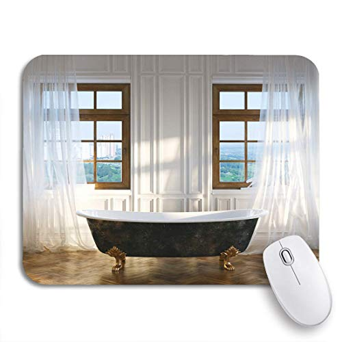 Gaming Mouse Pad Big Badezimmer Vintage Eisen Badewanne in der Mitte und Windows rutschfeste Gummi Backing Mousepad für Notebooks Computer Maus Matten