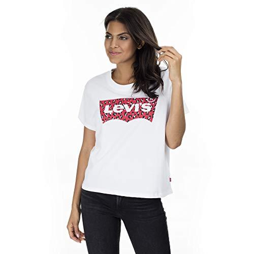 Levi's - T-Shirt Donna con Logo Batwing Leopard Rosso - Taglia S